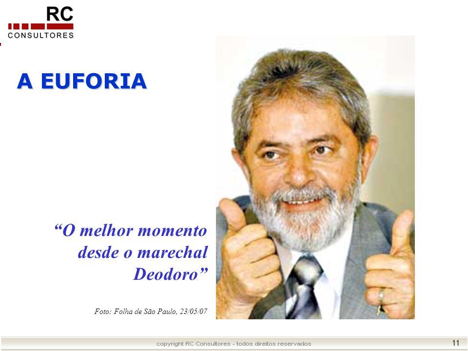 11 A EUFORIA Foto: Folha de São Paulo, 23/05/07 O melhor momento desde o marechal Deodoro
