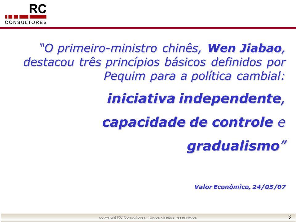 3 O primeiro-ministro chinês, Wen Jiabao, destacou três princípios básicos definidos por Pequim para a política cambial: iniciativa independente, capa