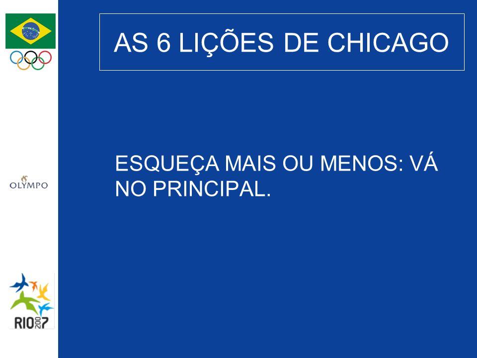 AS 6 LIÇÕES DE CHICAGO ESQUEÇA MAIS OU MENOS: VÁ NO PRINCIPAL.