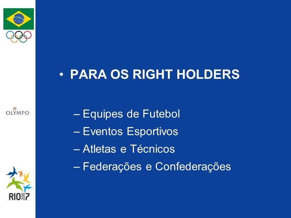 PARA OS RIGHT HOLDERS –Equipes de Futebol –Eventos Esportivos –Atletas e Técnicos –Federações e Confederações