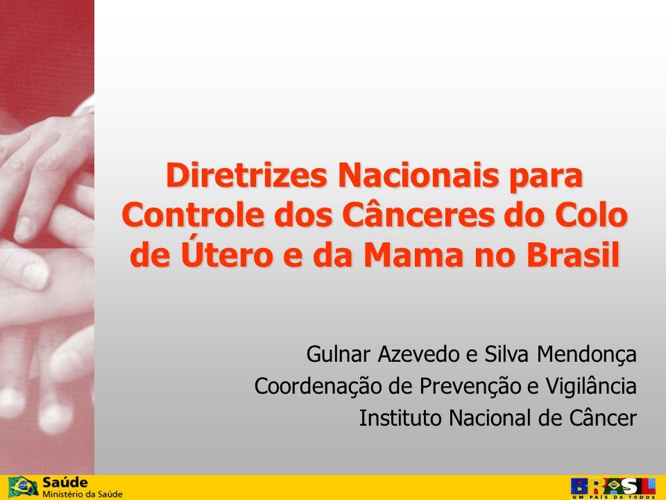 Diretrizes Nacionais para Controle dos Cânceres do Colo de Útero e da Mama no Brasil Gulnar Azevedo e Silva Mendonça Coordenação de Prevenção e Vigilâ