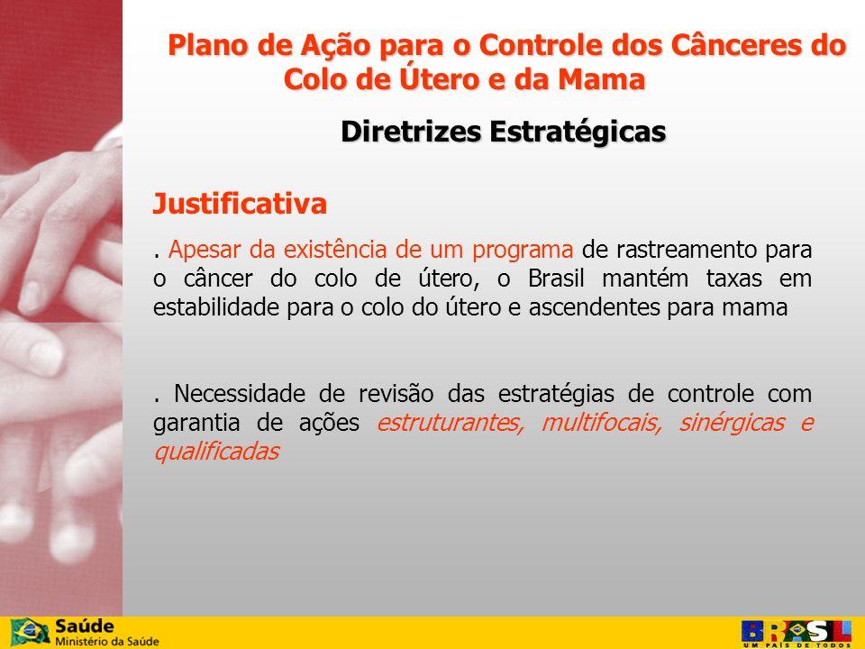 Justificativa. Apesar da existência de um programa de rastreamento para o câncer do colo de útero, o Brasil mantém taxas em estabilidade para o colo d