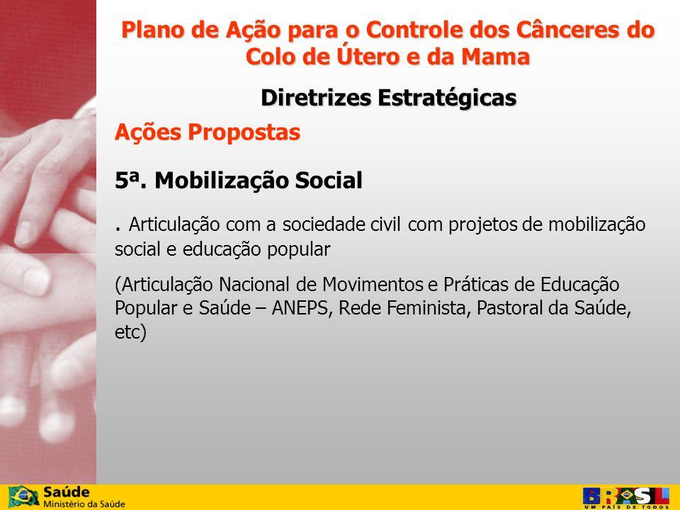 Ações Propostas 5ª. Mobilização Social. Articulação com a sociedade civil com projetos de mobilização social e educação popular (Articulação Nacional