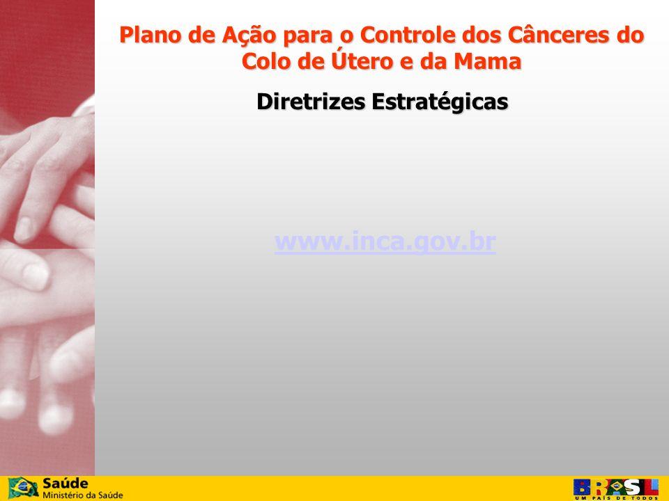 www.inca.gov.br Plano de Ação para o Controle dos Cânceres do Colo de Útero e da Mama Diretrizes Estratégicas