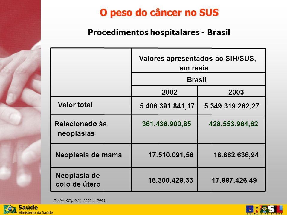 O peso do câncer no SUS Procedimentos hospitalares - Brasil Fonte: SIH/SUS, 2002 e 2003. 20022003 Valor total 5.406.391.841,175.349.319.262,27 Relacio