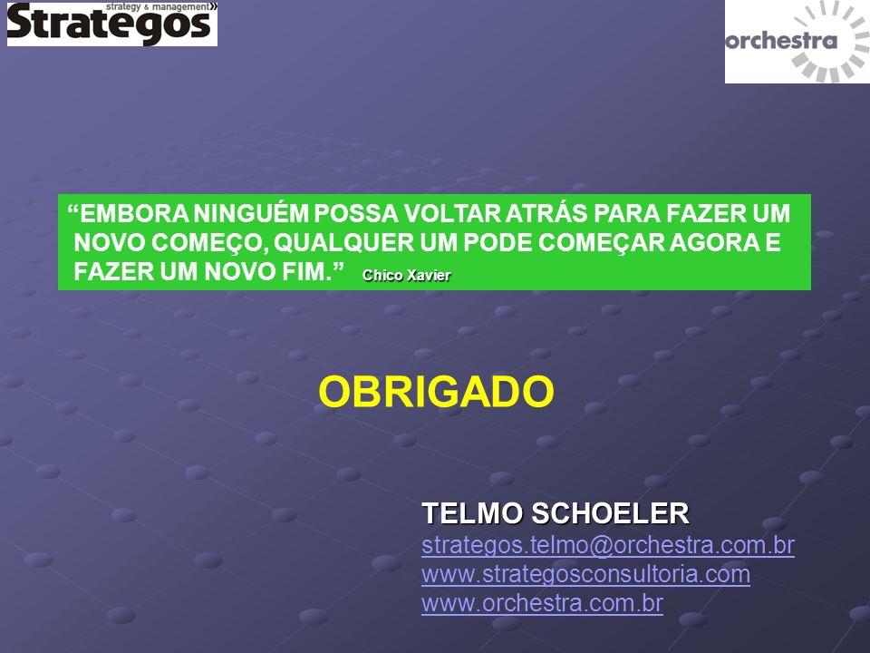 OBRIGADO TELMO SCHOELER strategos.telmo@orchestra.com.br www.strategosconsultoria.com www.orchestra.com.br EMBORA NINGUÉM POSSA VOLTAR ATRÁS PARA FAZER UM NOVO COMEÇO, QUALQUER UM PODE COMEÇAR AGORA E FAZER UM NOVO FIM.