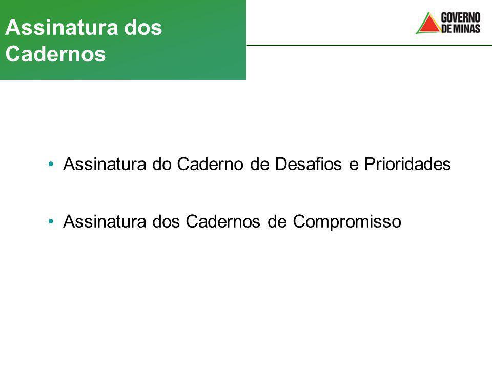 Assinatura dos Cadernos Assinatura do Caderno de Desafios e Prioridades Assinatura dos Cadernos de Compromisso