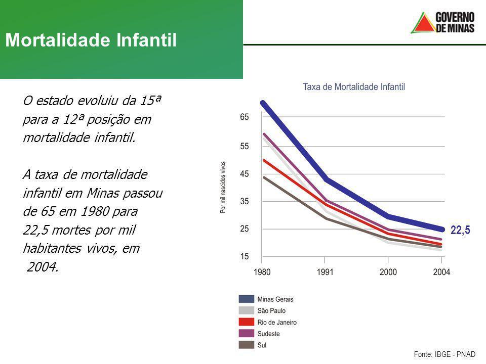 Mortalidade Infantil O estado evoluiu da 15ª para a 12ª posição em mortalidade infantil. A taxa de mortalidade infantil em Minas passou de 65 em 1980