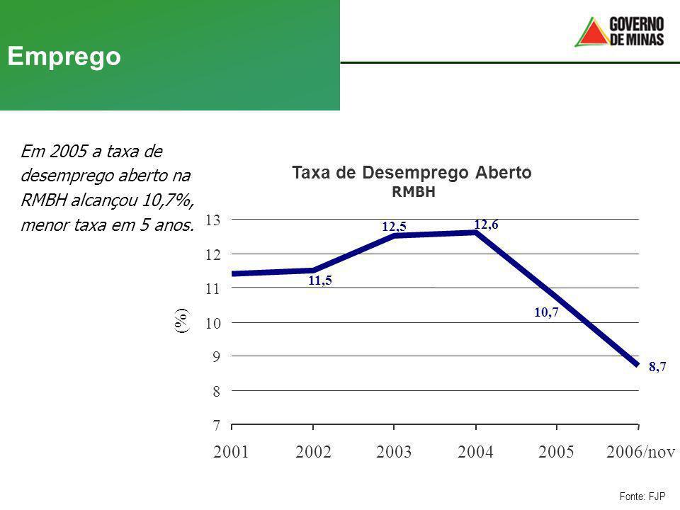 Emprego Em 2005 a taxa de desemprego aberto na RMBH alcançou 10,7%, menor taxa em 5 anos. Fonte: FJP Taxa de Desemprego Aberto RMBH 8,7 10,7 12,6 12,5