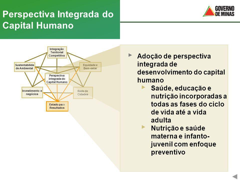Rede de Cidades Equidade e Bem-estar Perspectiva Integrada do Capital Humano Investimento e negócios Integração Territorial Competitiva Sustentabilida