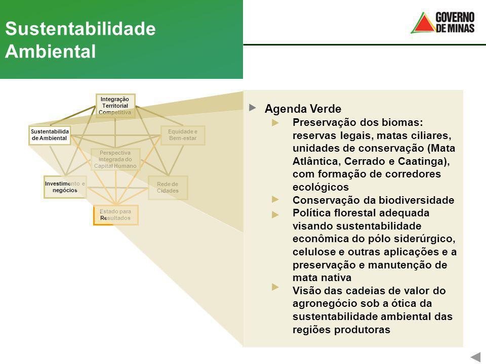 Rede de Cidades Equidade e Bem-estar Investimento e negócios Integração Territorial Competitiva Sustentabilida de Ambiental Estado para Resultados Per