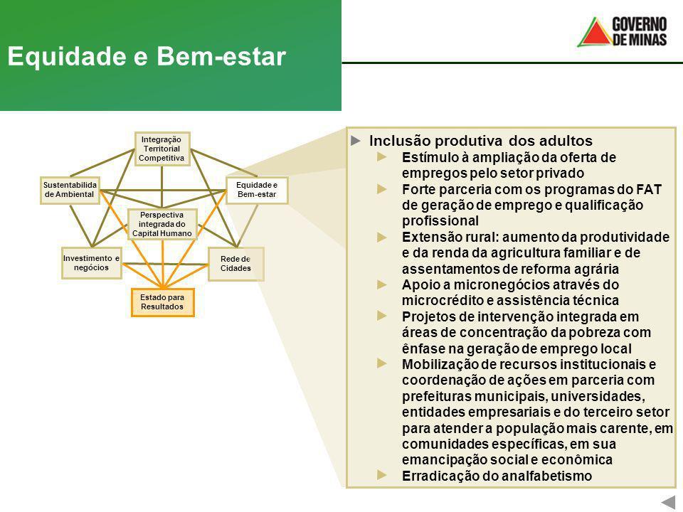 Rede de Cidades Equidade e Bem-estar Equidade e Bem-estar Investimento e negócios Integração Territorial Competitiva Sustentabilida de Ambiental Estad