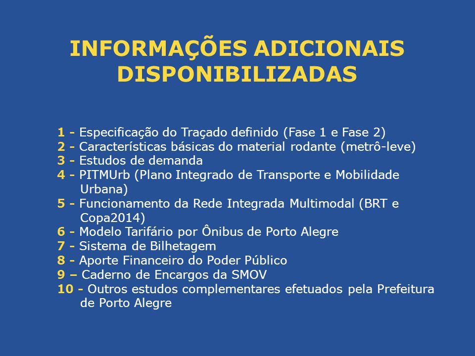 INFORMAÇÕES ADICIONAIS DISPONIBILIZADAS 1 - Especificação do Traçado definido (Fase 1 e Fase 2) 2 - Características básicas do material rodante (metrô