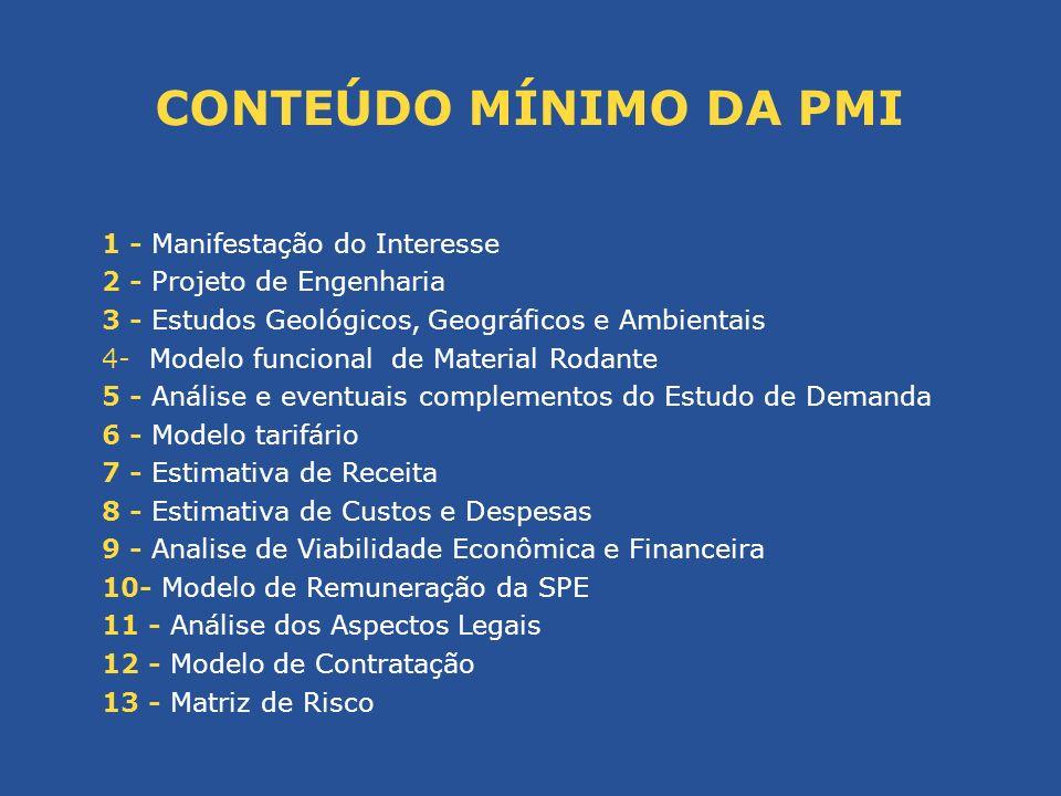 1 - Manifestação do Interesse 2 - Projeto de Engenharia 3 - Estudos Geológicos, Geográficos e Ambientais 4- Modelo funcional de Material Rodante 5 - A