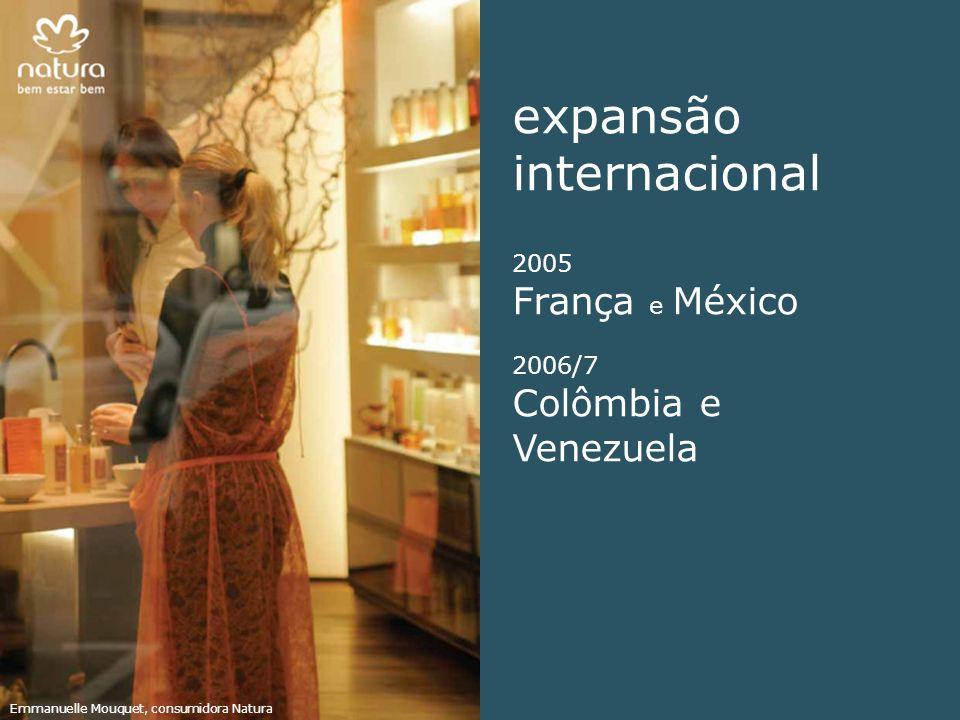expansão internacional 2005 França e México 2006/7 Colômbia e Venezuela Emmanuelle Mouquet, consumidora Natura