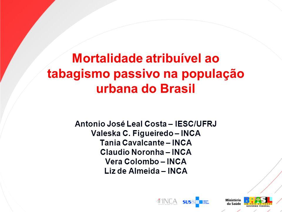 Mortalidade atribuível ao tabagismo passivo na população urbana do Brasil Antonio José Leal Costa – IESC/UFRJ Valeska C. Figueiredo – INCA Tania Caval