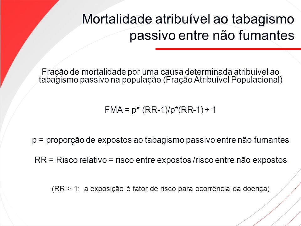 Mortalidade atribuível ao tabagismo passivo entre não fumantes Fração de mortalidade por uma causa determinada atribuível ao tabagismo passivo na popu