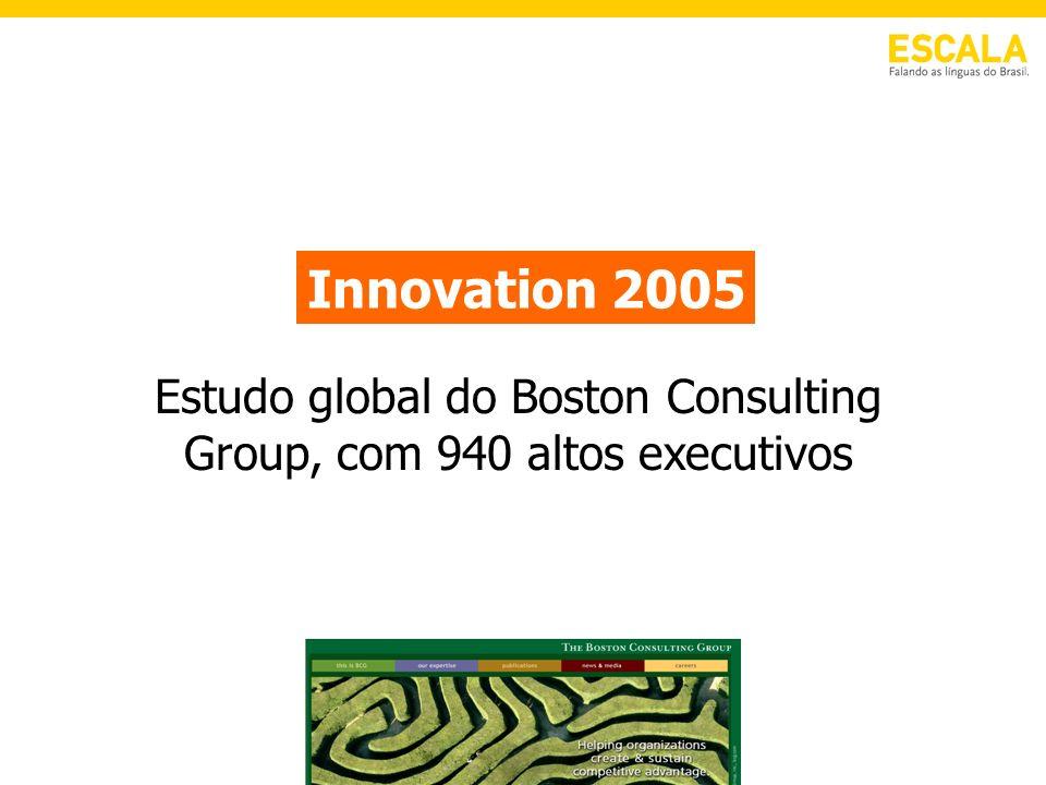 Estudo global do Boston Consulting Group, com 940 altos executivos Innovation 2005