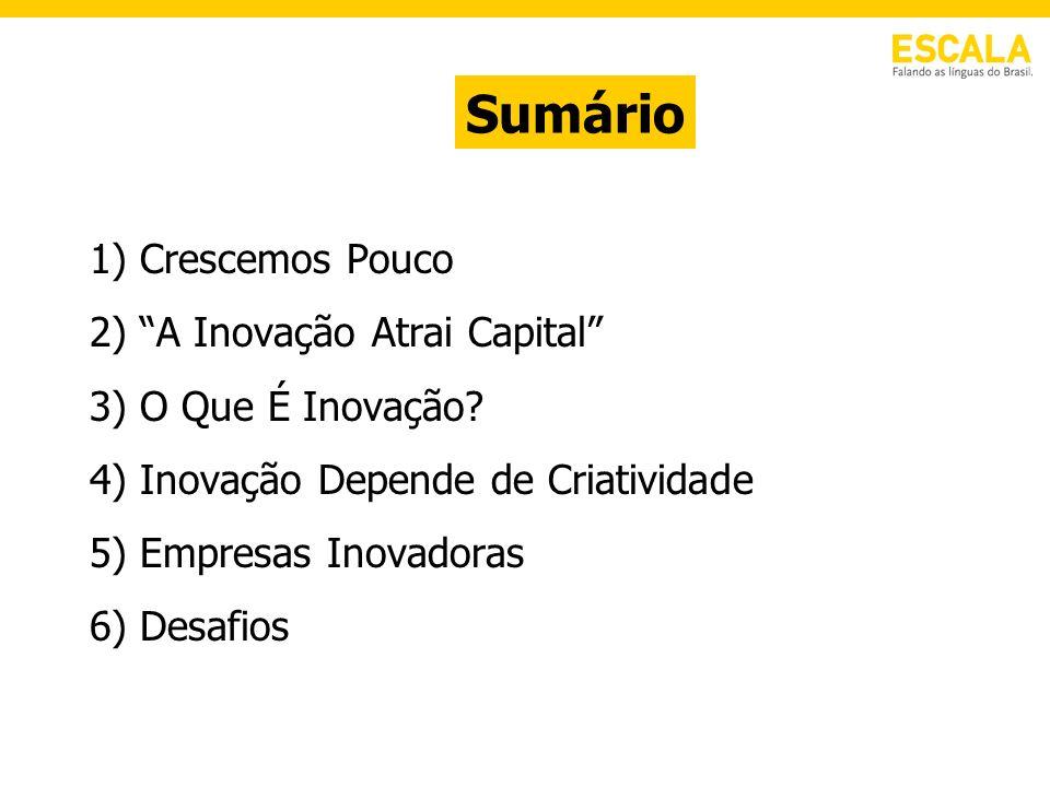 1) Crescemos Pouco 2) A Inovação Atrai Capital 3) O Que É Inovação? 4) Inovação Depende de Criatividade 5) Empresas Inovadoras 6) Desafios Sumário