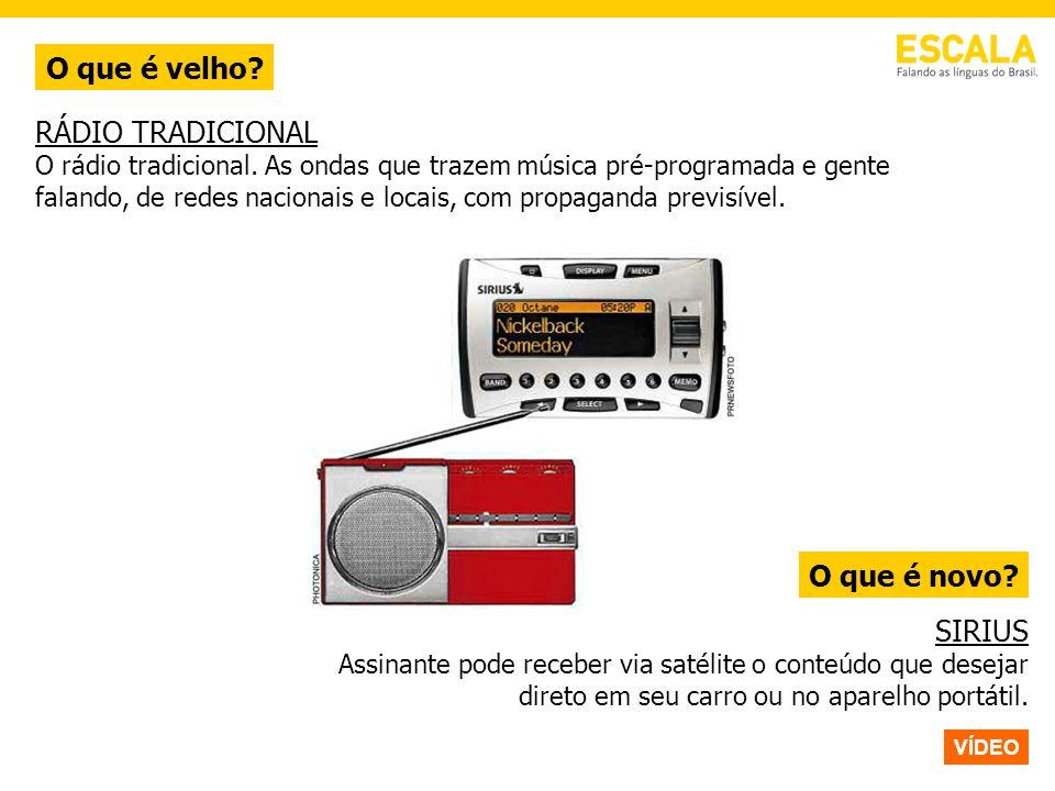 O que é velho? O que é novo? RÁDIO TRADICIONAL O rádio tradicional. As ondas que trazem música pré-programada e gente falando, de redes nacionais e lo
