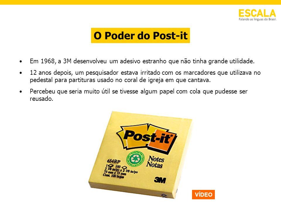 O Poder do Post-it Em 1968, a 3M desenvolveu um adesivo estranho que não tinha grande utilidade. 12 anos depois, um pesquisador estava irritado com os