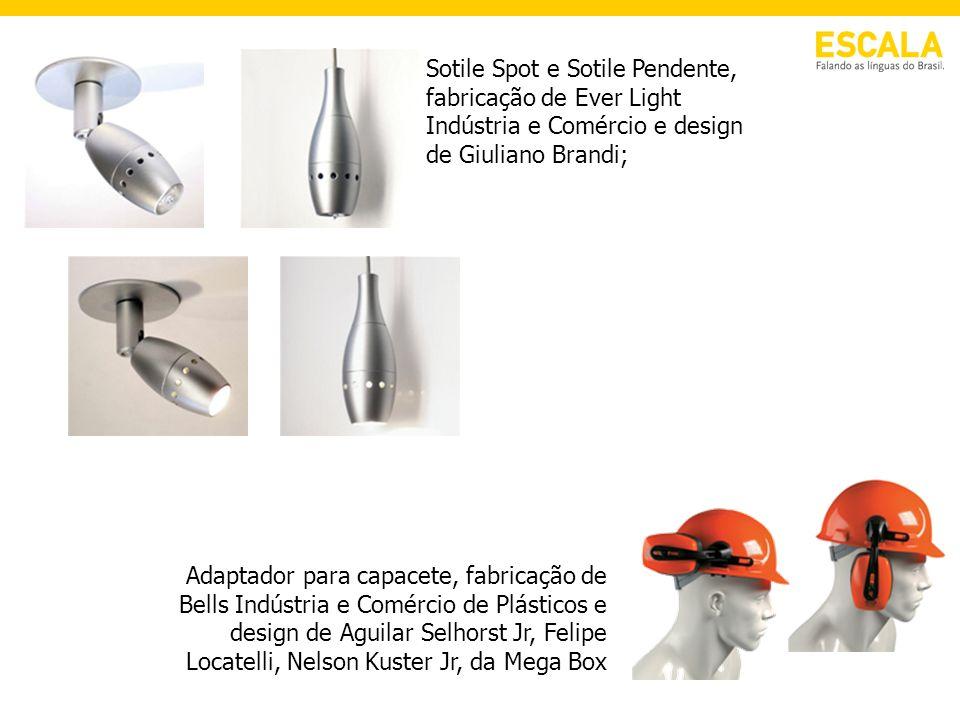 Sotile Spot e Sotile Pendente, fabricação de Ever Light Indústria e Comércio e design de Giuliano Brandi; Adaptador para capacete, fabricação de Bells