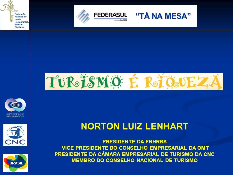 NORTON LUIZ LENHART PRESIDENTE DA FNHRBS VICE PRESIDENTE DO CONSELHO EMPRESARIAL DA OMT PRESIDENTE DA CÂMARA EMPRESARIAL DE TURISMO DA CNC MEMBRO DO C