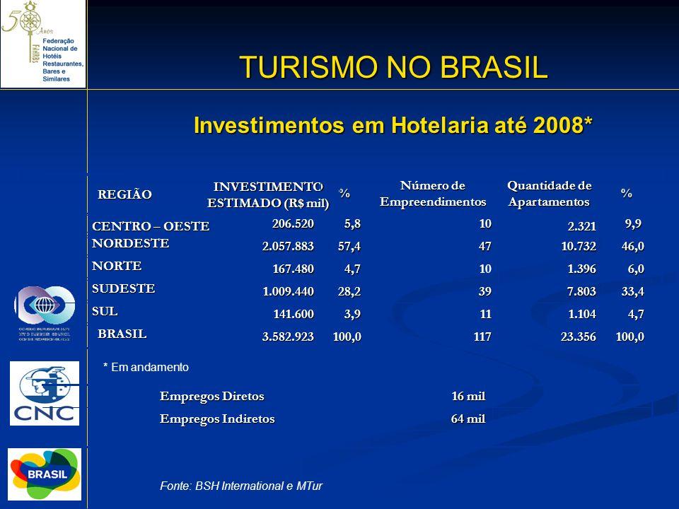 18 Investimentos em Hotelaria até 2008* Fonte: BSH International e MTur 117 11 39 10 47 10 Número de Empreendimentos 100,023.356 100,0 3.582.923 BRASI