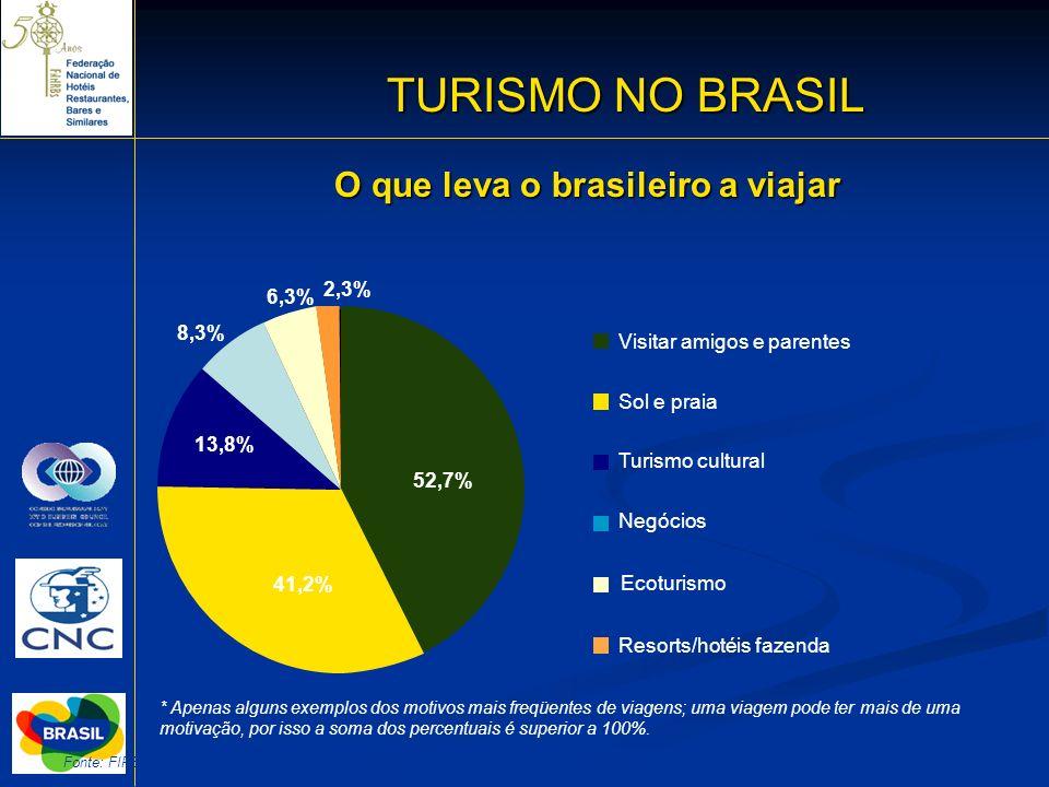 19 Fonte: FIPE-2006 TURISMO NO BRASIL O que leva o brasileiro a viajar Visitar amigos e parentes Sol e praia Turismo cultural Negócios Ecoturismo Reso