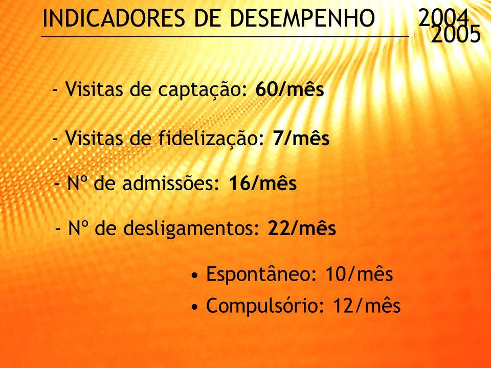 2004 2005 INDICADORES DE DESEMPENHO - Nº de atendimentos ao cliente: 960/mês - Nº de reclamações: 5,9/mês - Utilização de benefícios: R$ 15.000,00/mês