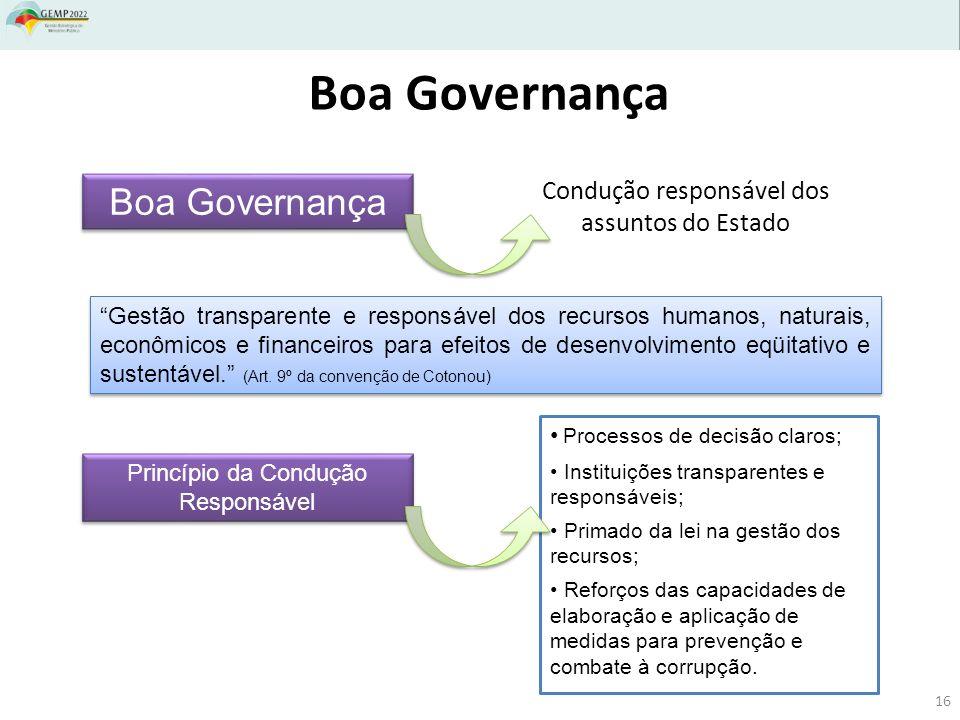 Boa Governança Gestão transparente e responsável dos recursos humanos, naturais, econômicos e financeiros para efeitos de desenvolvimento eqüitativo e sustentável.