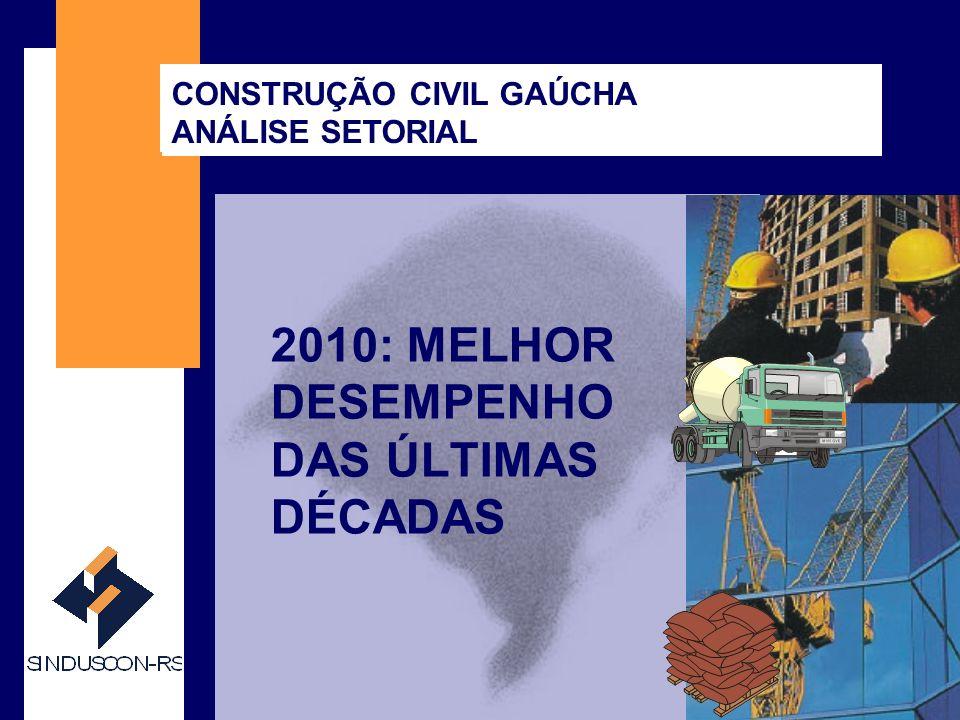 SINDUSCON-RS 2010: MELHOR DESEMPENHO DAS ÚLTIMAS DÉCADAS CONSTRUÇÃO CIVIL GAÚCHA ANÁLISE SETORIAL
