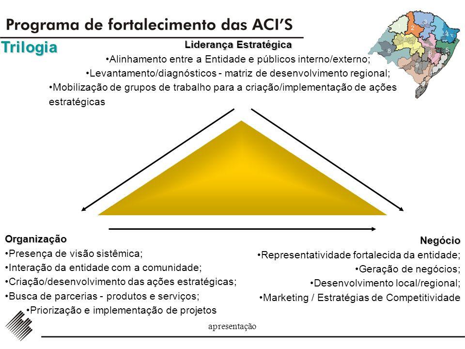 apresentação Desenvolvendo produtos e serviços; Posicionando a instituição para o fortalecimento da sua representatividade; Capitalizando fluxo de púb