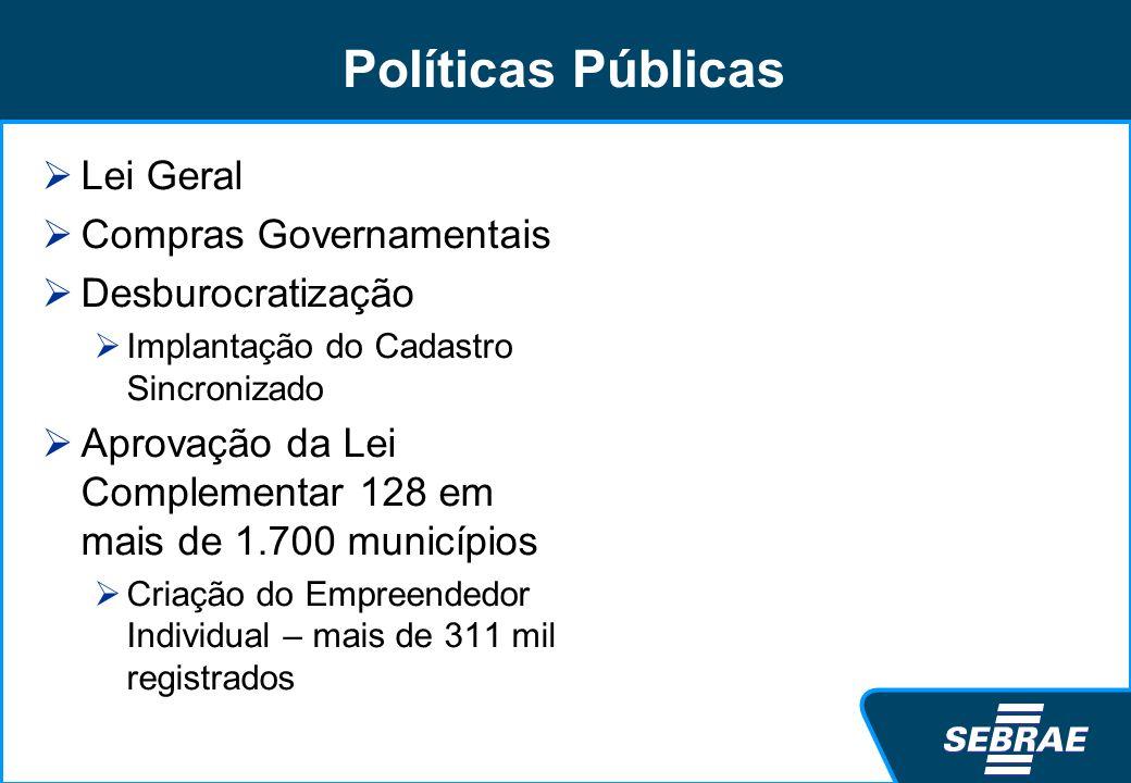 Políticas Públicas Lei Geral Compras Governamentais Desburocratização Implantação do Cadastro Sincronizado Aprovação da Lei Complementar 128 em mais d