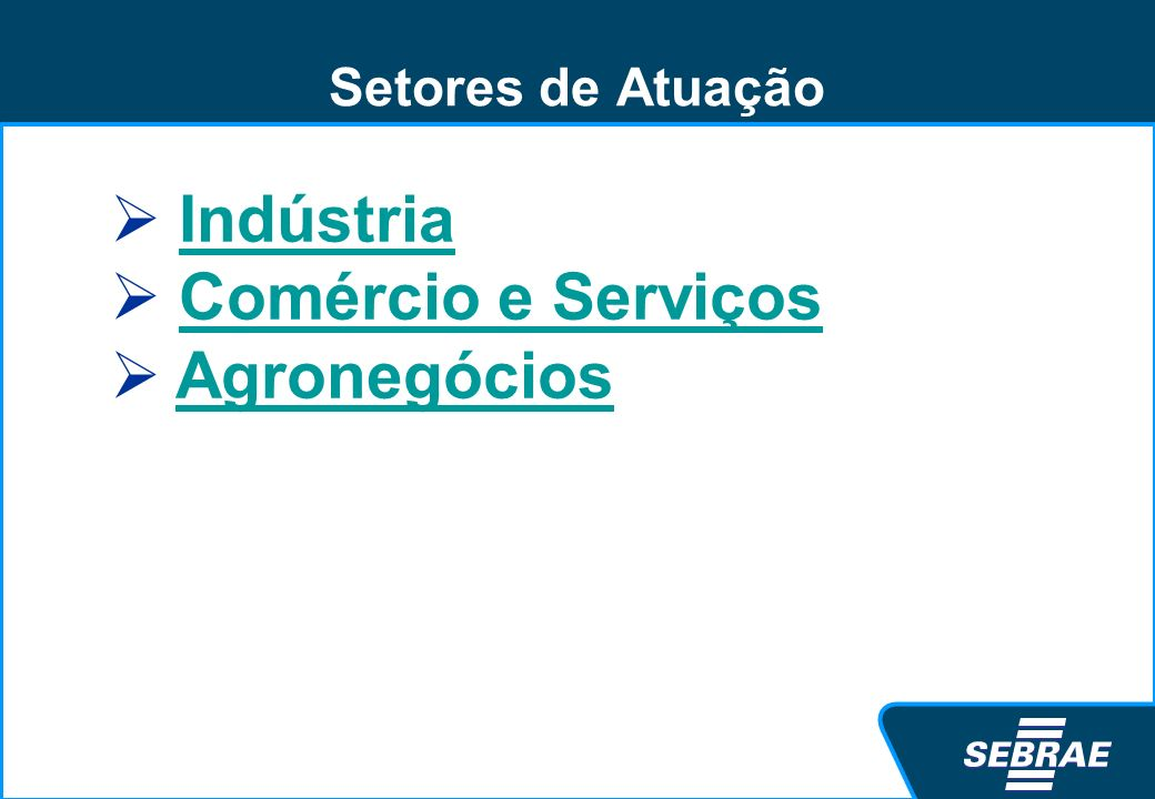 Setores de Atuação Indústria Comércio e Serviços Agronegócios