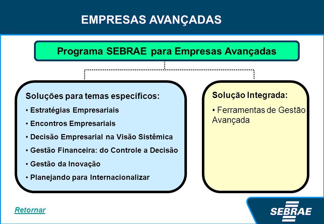 EMPRESAS AVANÇADAS Programa SEBRAE para Empresas Avançadas Soluções para temas específicos: Estratégias Empresariais Encontros Empresariais Decisão Em