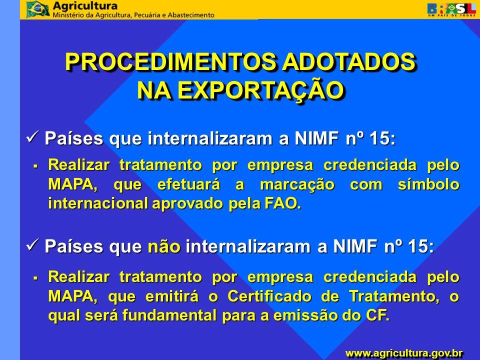 www.agricultura.gov.brwww.agricultura.gov.br Países que internalizaram a NIMF nº 15: Países que internalizaram a NIMF nº 15: PROCEDIMENTOS ADOTADOS NA
