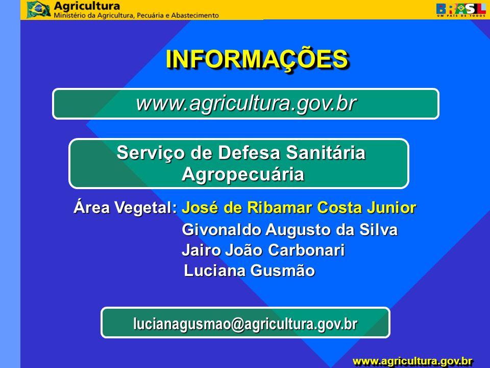 www.agricultura.gov.brwww.agricultura.gov.br Serviço de Defesa Sanitária Agropecuária Agropecuária www.agricultura.gov.br Área Vegetal: José de Ribama