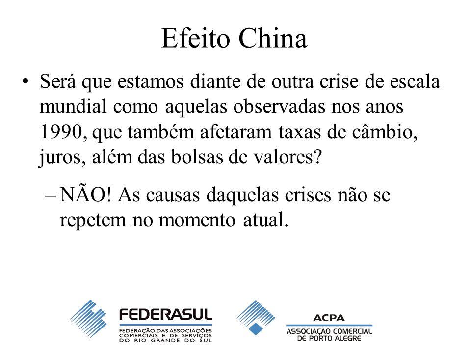 Efeito China Será que estamos diante de outra crise de escala mundial como aquelas observadas nos anos 1990, que também afetaram taxas de câmbio, juros, além das bolsas de valores.