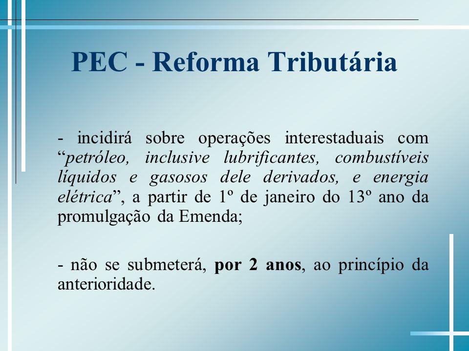 PEC - Reforma Tributária - incidirá sobre operações interestaduais competróleo, inclusive lubrificantes, combustíveis líquidos e gasosos dele derivado
