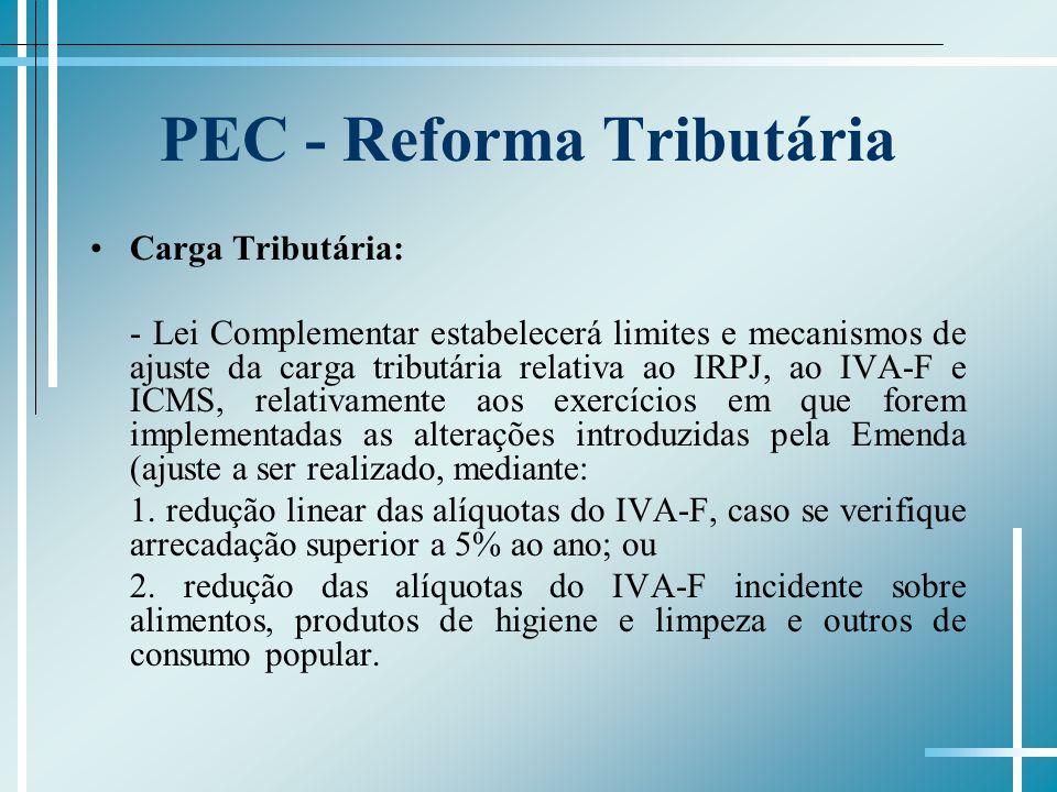 PEC - Reforma Tributária Carga Tributária: - Lei Complementar estabelecerá limites e mecanismos de ajuste da carga tributária relativa ao IRPJ, ao IVA