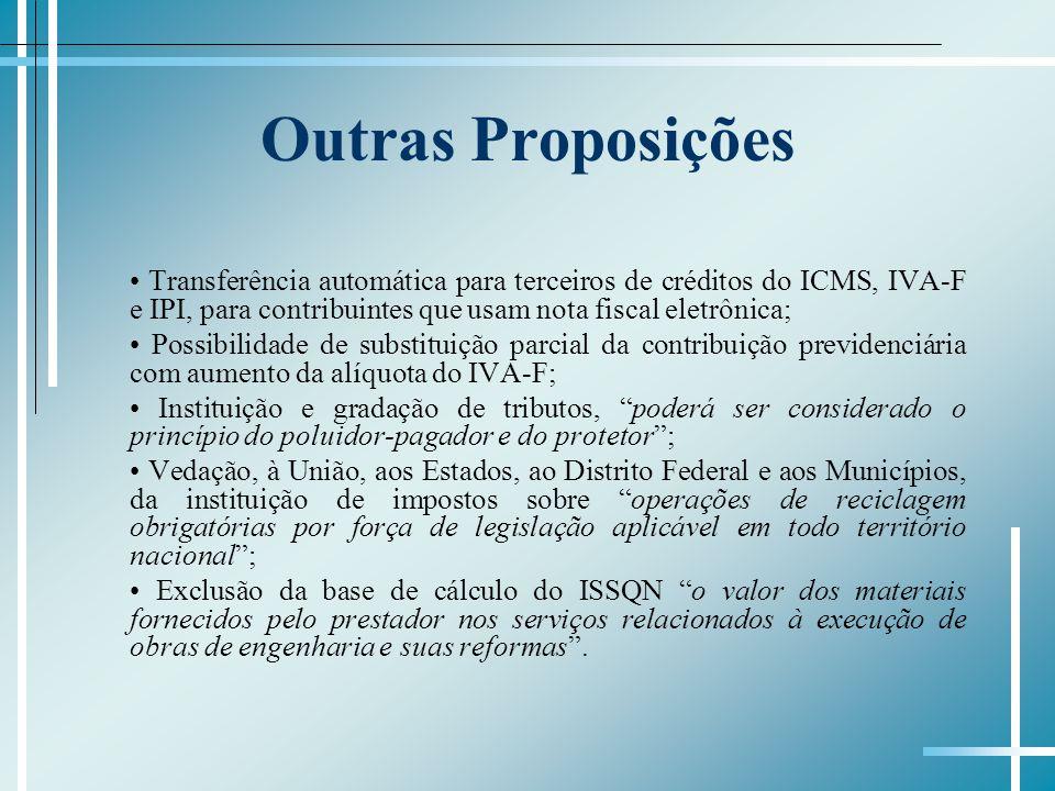 Outras Proposições Transferência automática para terceiros de créditos do ICMS, IVA-F e IPI, para contribuintes que usam nota fiscal eletrônica; Possi