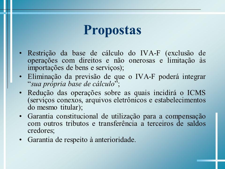 Propostas Restrição da base de cálculo do IVA-F (exclusão de operações com direitos e não onerosas e limitação às importações de bens e serviços); Eli