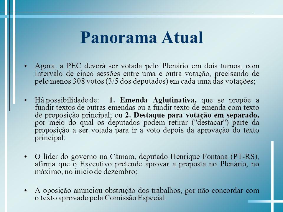 Panorama Atual Agora, a PEC deverá ser votada pelo Plenário em dois turnos, com intervalo de cinco sessões entre uma e outra votação, precisando de pe