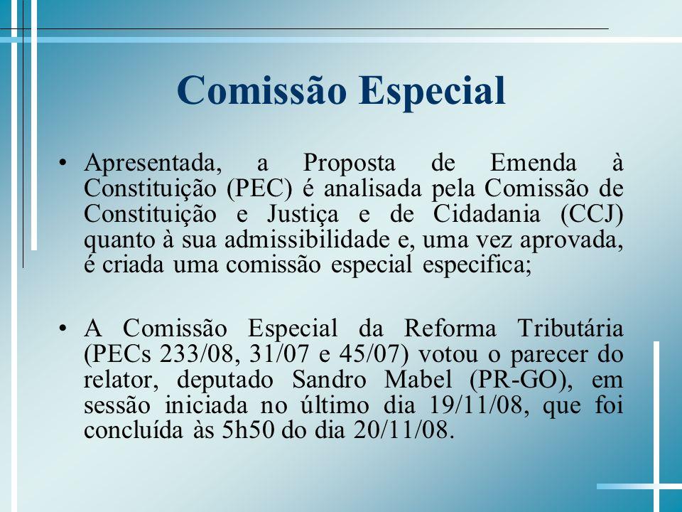Comissão Especial Apresentada, a Proposta de Emenda à Constituição (PEC) é analisada pela Comissão de Constituição e Justiça e de Cidadania (CCJ) quan