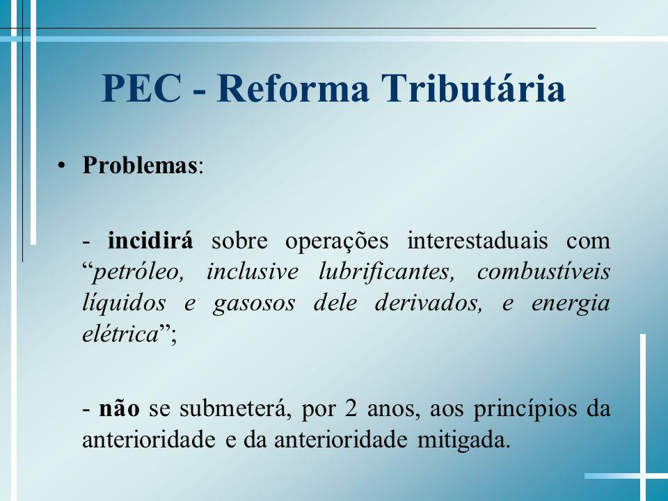 PEC - Reforma Tributária Problemas: - incidirá sobre operações interestaduais competróleo, inclusive lubrificantes, combustíveis líquidos e gasosos de