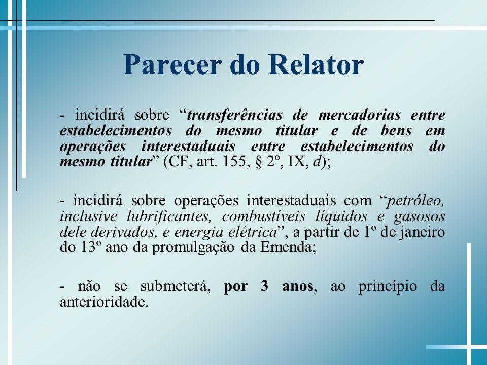 Parecer do Relator - incidirá sobre transferências de mercadorias entre estabelecimentos do mesmo titular e de bens em operações interestaduais entre