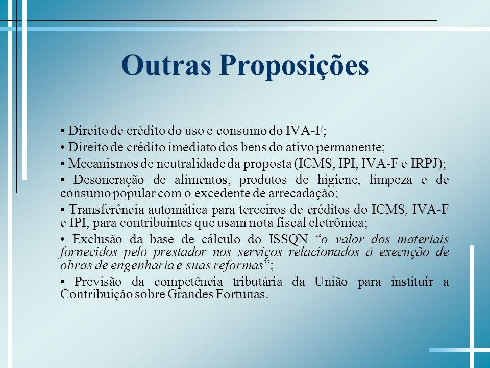 Outras Proposições Direito de crédito do uso e consumo do IVA-F; Direito de crédito imediato dos bens do ativo permanente; Mecanismos de neutralidade da proposta (ICMS, IPI, IVA-F e IRPJ); Desoneração de alimentos, produtos de higiene, limpeza e de consumo popular com o excedente de arrecadação; Transferência automática para terceiros de créditos do ICMS, IVA-F e IPI, para contribuintes que usam nota fiscal eletrônica; Exclusão da base de cálculo do ISSQN o valor dos materiais fornecidos pelo prestador nos serviços relacionados à execução de obras de engenharia e suas reformas; Previsão da competência tributária da União para instituir a Contribuição sobre Grandes Fortunas.