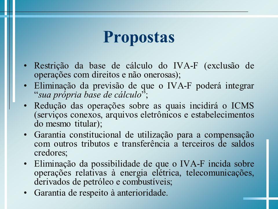 Propostas Restrição da base de cálculo do IVA-F (exclusão de operações com direitos e não onerosas); Eliminação da previsão de que o IVA-F poderá inte
