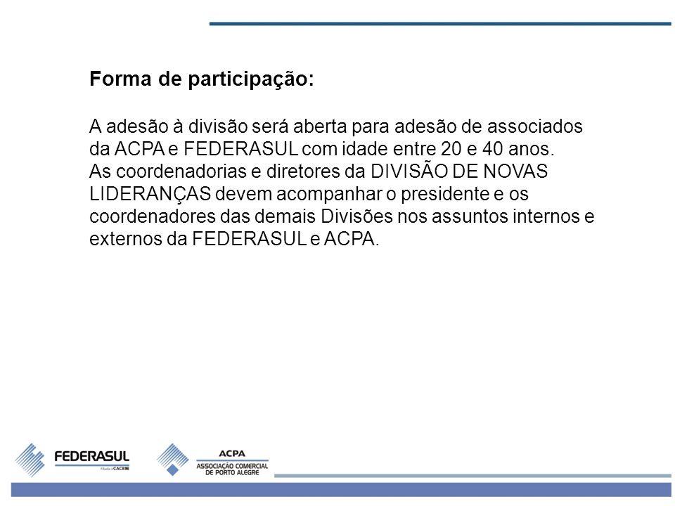 Forma de participação: A adesão à divisão será aberta para adesão de associados da ACPA e FEDERASUL com idade entre 20 e 40 anos.